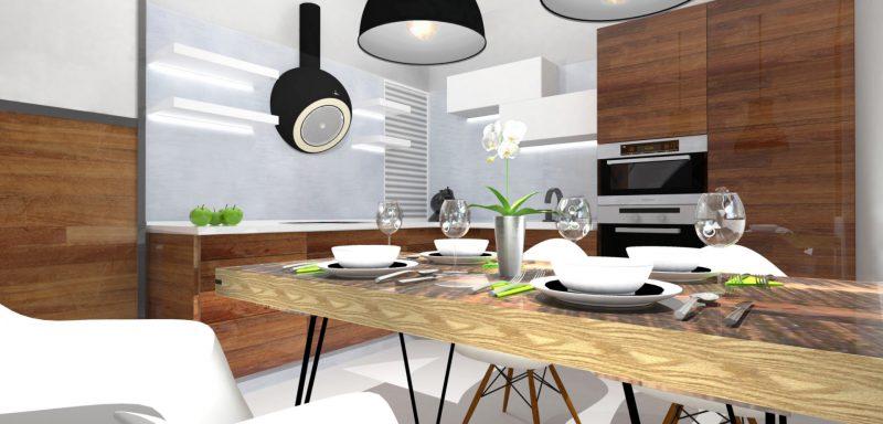 CHRASTAVA, kuchyň s jídelním koutem pro mladou rodinu
