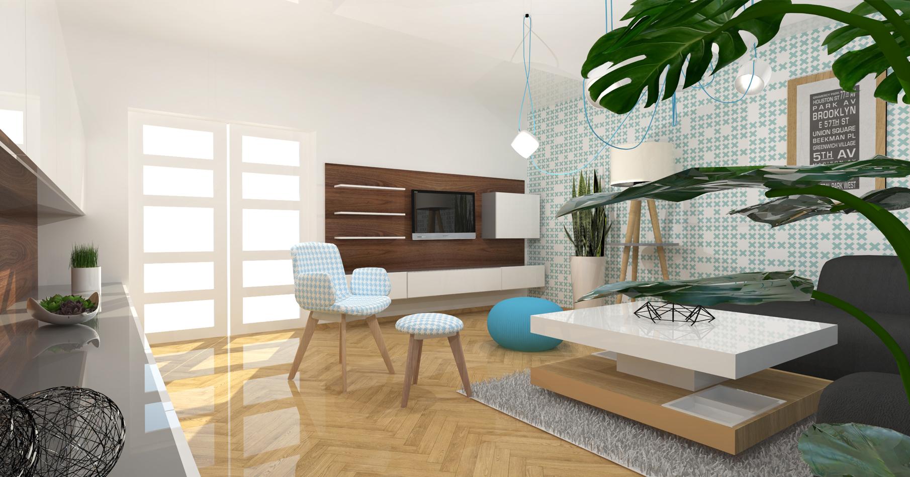TRNOVÁ. obývací pokoj v retro stylu