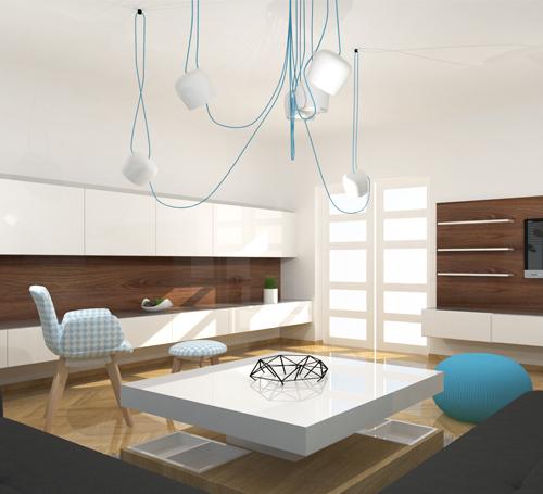 Trnová, obývací pokoj v retro stylu